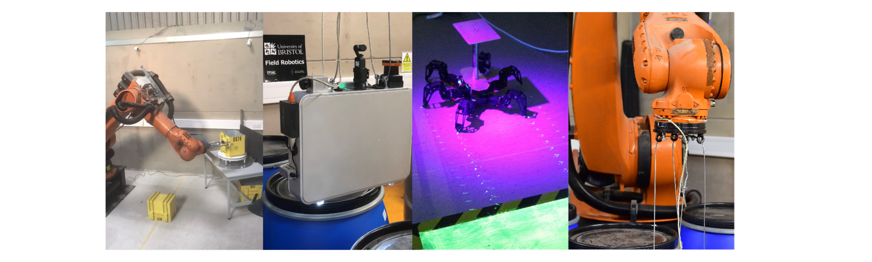 Left to right: Kuka robotics arm scanning a waste container; radiation detection inspection suitcase; Spider robot in a mock-up radioactive environment; Kuka robotic arm and mock-up waste drums (Credits: South West Nuclear Hub – University of Bristol)